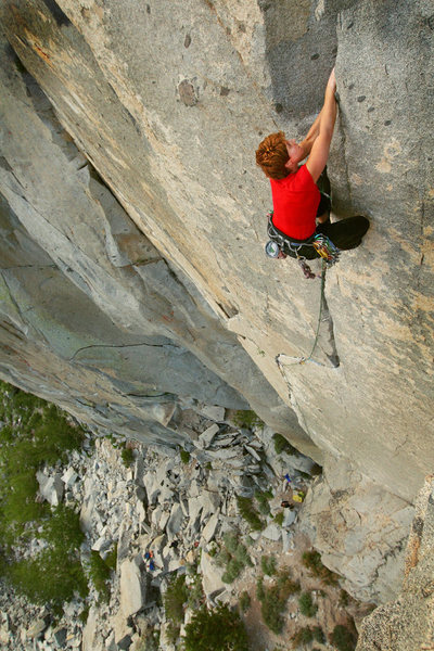 Rock Climbing Photo: Mary Devore finishing Wages of Skin, Rock Creek.