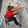 Mary Devore about to hit the crux of Wages of Skin (5.10d).