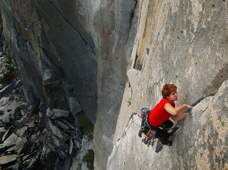 Passing the crux of Wages of Skin, Mary Devore cruises to the top of the route.