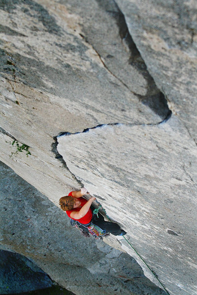 Scenic view of the S-shaped crack. Mary Devore climber.