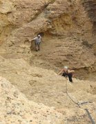 Rock Climbing Photo: Carrie following the bolted face pitch (#2) with M...