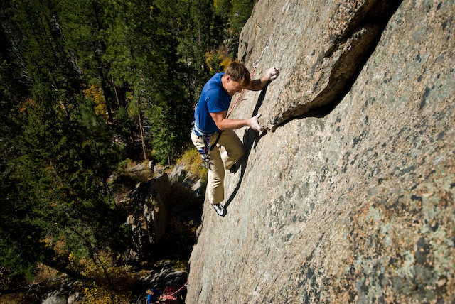 Chris moving past the crux (photo by Dan Gambino).