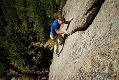 Rock Climbing Photo: Chris moving past the crux (photo by Dan Gambino).