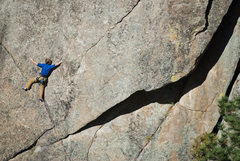 Rock Climbing Photo: Jarrett Tishmack making the long reach out of the ...