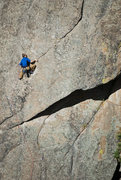 Rock Climbing Photo: Jarrett moving into the crux undercling on the sec...