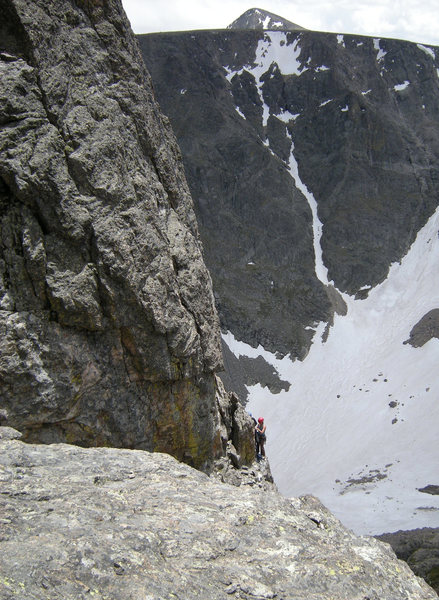 A pair of climbers at the top of Instant Clarification (rappel route).