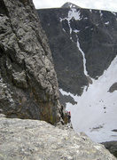 Rock Climbing Photo: A pair of climbers at the top of Instant Clarifica...