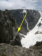 Rock Climbing Photo: There's a three-piton rappel anchor right where th...