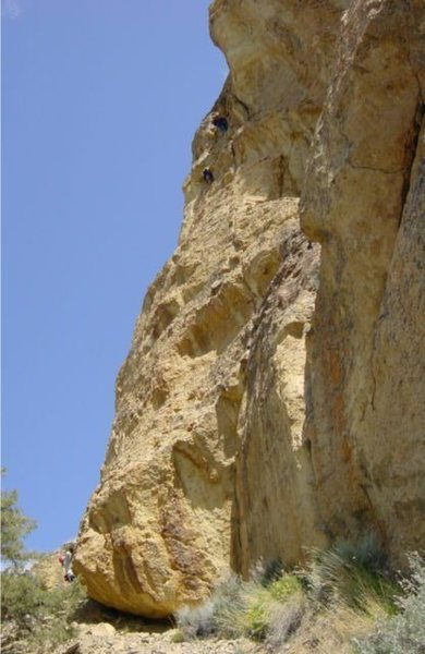 JohnK belaying Kara to the first pitch anchors of Round River.
