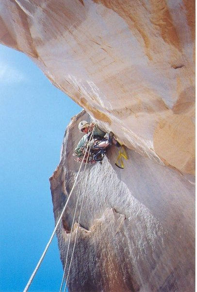 Andy on the overhanging crack pitch 3