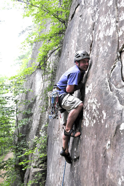 Rock Climbing Photo: Doug really enjoying the thin start of Ghost Dance...
