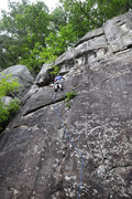 Rock Climbing Photo: Doug on Ghost Dancers, a rainy June morning 2008. ...