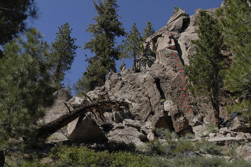 Route topo for Mobetta Fogetta, at Clark Canyon.