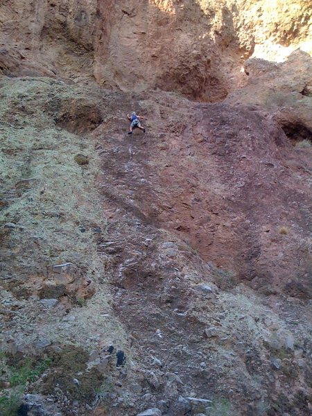 Climber Don Robinson looking curious near the top.