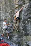 Rock Climbing Photo: First move on the route, Thin edge at the beginnin...