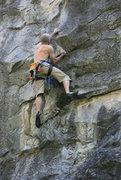 Rock Climbing Photo: Setting the third clip.