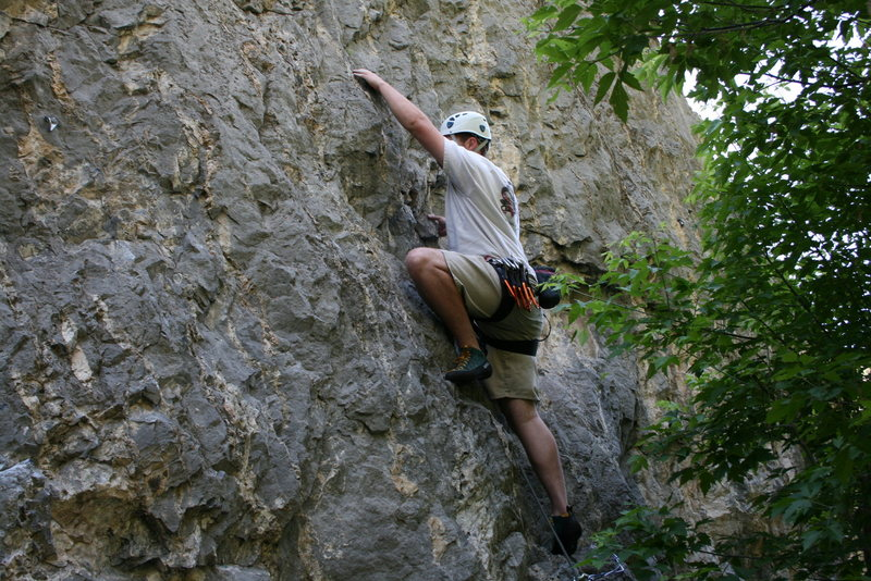 Rock Climbing Photo: Moving pass the first clip, don't fall you'll land...