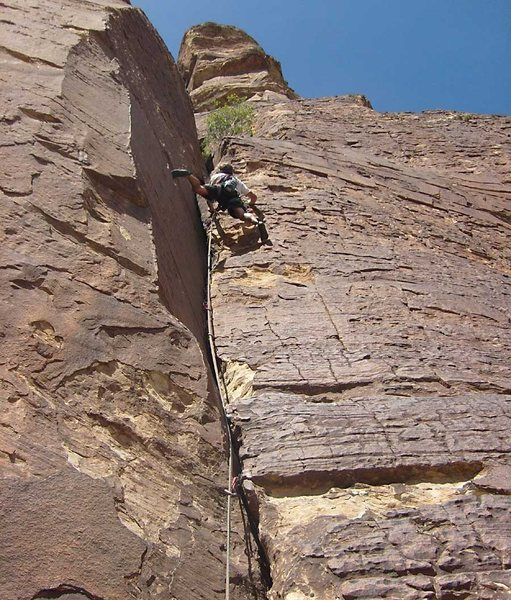 The crux section of the first pitch.