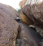 Rock Climbing Photo: Pitch 2 starts with a small overhang.