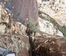 Rock Climbing Photo: Looking down the chimney at the second belay.