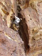 Rock Climbing Photo: Karsten peers into the exit crack.  At this point,...