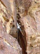 Rock Climbing Photo: Cranking into the corner.