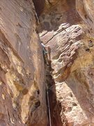Rock Climbing Photo: The flared corner offers an occasional rest spot.