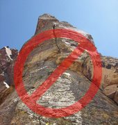 Rock Climbing Photo: Don't climb this! The crack that appears to provid...