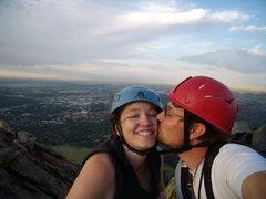 Rock Climbing Photo: A perfect date with my wife Jenna,  First Flatiron...