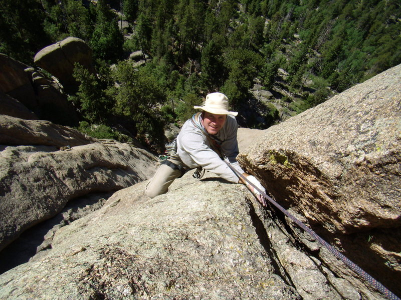 Bill Duncan following the first pitch of Hot Licks (5.9).  The Bookend.  Lumpy Ridge Colorado.  June 29th 2008.