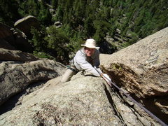 Rock Climbing Photo: Bill Duncan following the first pitch of Hot Licks...
