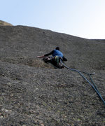 Rock Climbing Photo: Darren on the FA of the headwall of the Cloak, Pit...