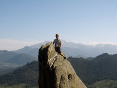 Rock Climbing Photo: Climber on Bookmark Pinnacle.  Lumpy Ridge, CO.  J...
