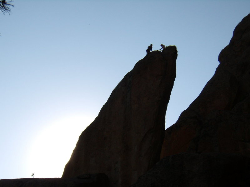 An unknown climber and his wife reaching the top of bookmark Pinnacle.  June 29th 2008.