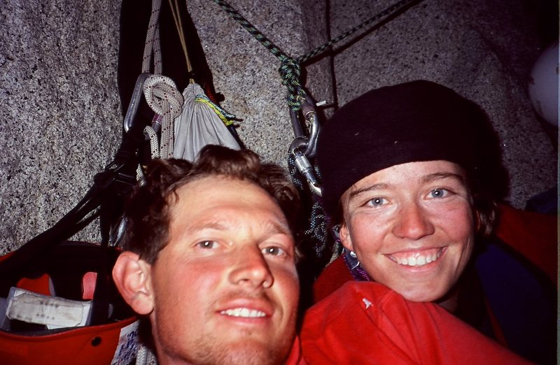 Jenna and I on Big Sandy ledges, Regular Northwest face of Halfdome.  Yosemite National Park (2000)- before we had our three terrific kids.