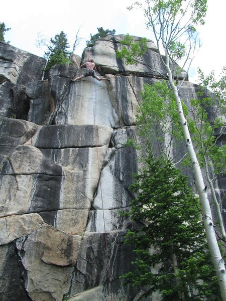 Rock Climbing Photo: Gabe working on the last hard move before the anch...