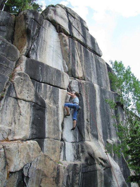 Rock Climbing Photo: Lori working the jams on Honest Abe.