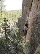 Rock Climbing Photo: Making the span on Real Men of Genius (5.10a), Hol...