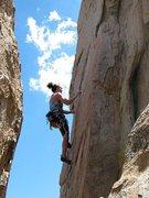 Rock Climbing Photo: Susan on Tombstone Shadow (5.10b), Holcomb Valley ...