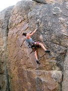Rock Climbing Photo: Susan weaving down the Lost Highway (5.11a), Holco...