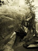 Rock Climbing Photo: Jables going from the crimps.