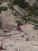 Rock Climbing Photo: Joe headed up the first pitch.  I believe that he ...