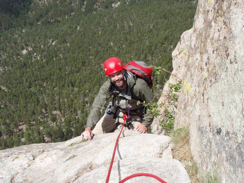 Joe, riding the pillar at the top of P3.