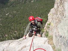 Rock Climbing Photo: Joe, riding the pillar at the top of P3.