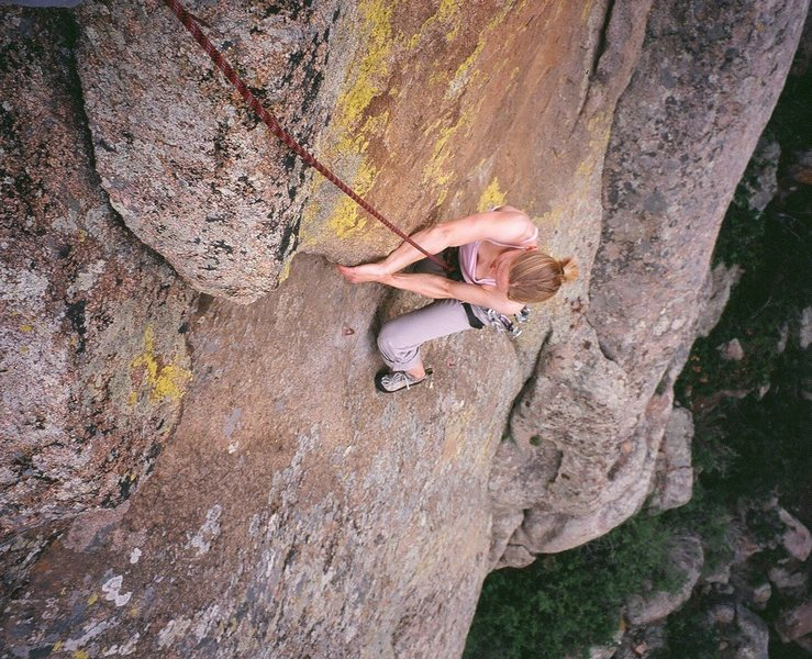 Rock Climbing Photo: Kat A. follows up the powerful lieback on 'Punchli...