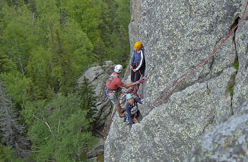 Joel and Nicole at the 1st belay station.  Kenna climbing, Mike Photog.