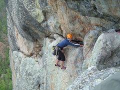 Rock Climbing Photo: Nicole Cleaning Gear