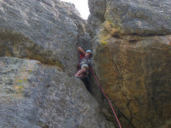Rock Climbing Photo: Me starting the chimney on pitch 3
