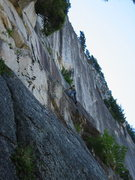 Rock Climbing Photo: Tony almost done on The Flats pitch above Perry's ...