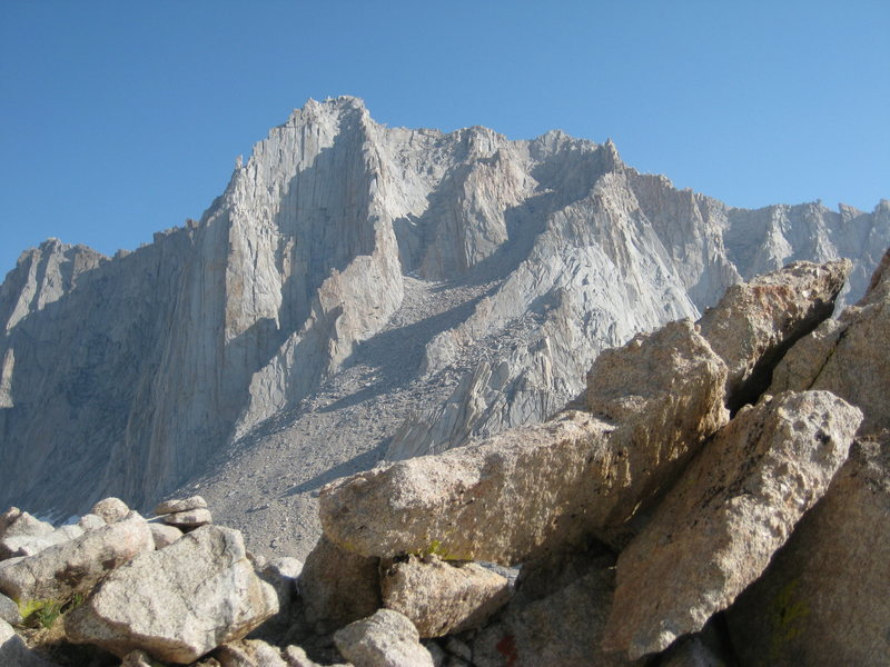 View from the Whitney-Russell pass of Fishhook Arete and the 3rd class East Ridge.